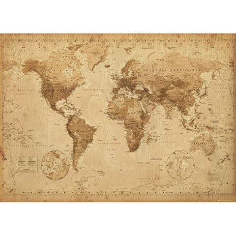World Map Antique Style - Giant Poster - 100 x 140cm
