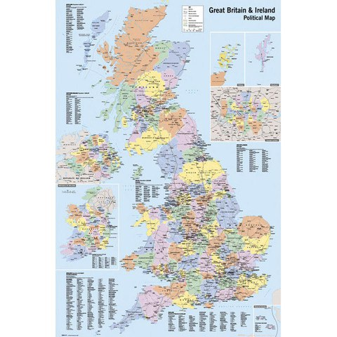 UK Map Political - Maxi Poster - 61 x 91.5cm