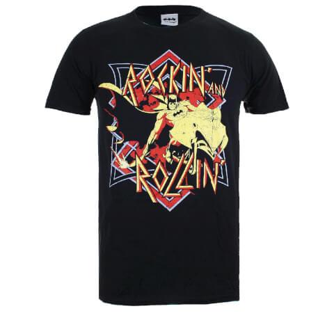 DC Comics Men's Batman Rockin N Rollin T-Shirt - Black