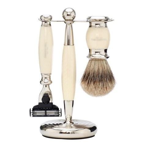 Truefitt & Hill Edwardian Badger MachIII Razor, Brush and Stand Set - Faux Ivory