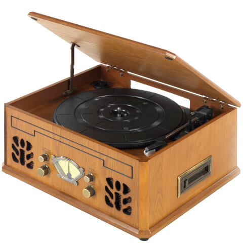 Itek Retro Antique Vintage Music System (Cassette, CD, Radio & Turntable) - Wood