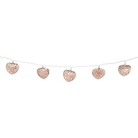 Parlane Copper Garland Heart Lights - Rose Gold