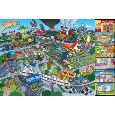 The Simpsons Locations - 24 x 36 Inches Maxi Poster