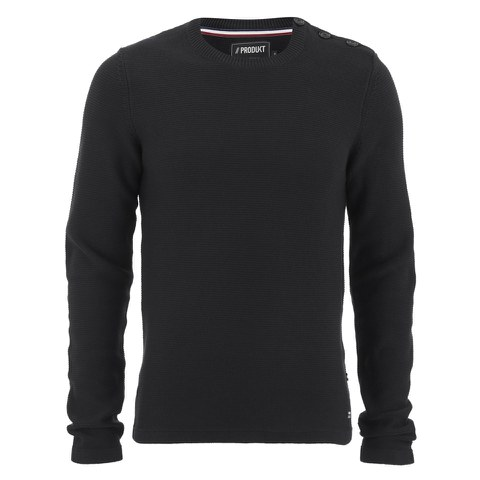 Produkt Men's HNN Buttoned Crew Neck Jumper - Black