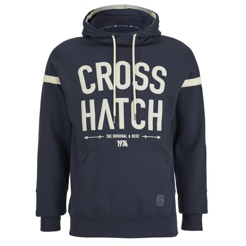 Crosshatch Men's Chassis Print Hoody - Iris Navy