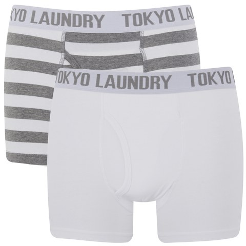 Tokyo Laundry Men's 2-Pack Burbank Striped Boxers - White/Mid Grey Marl