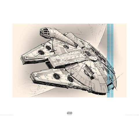 Affiche Faucon Millénium Star Wars : Le Réveil de la Force - 60 x 80 cm
