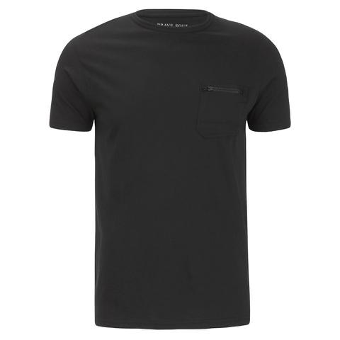 T-Shirt Homme Brave Soul Faustian Zip -Noir