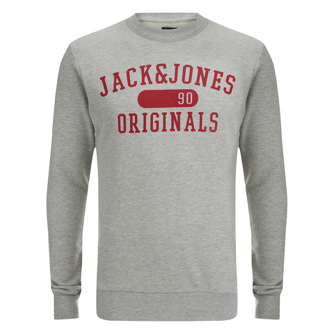 Jack & Jones Men's Seek Crew Neck Sweatshirt - Light Grey Marl