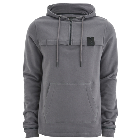 4Bidden Men's Sector 1/2 Zip Longline Hoody - Grey