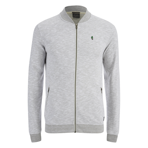 Jack & Jones Men's Originals Lock Baseball Zip Through Sweatshirt - Light Grey Marl