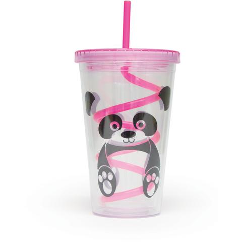 Tasse à Couvercle et Paille Panda
