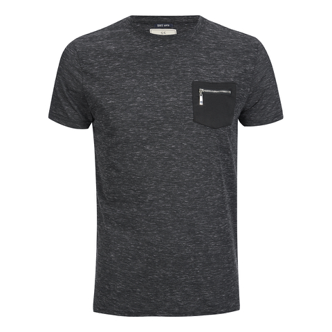 Brave Soul Men's Exit Zip Pocket T-Shirt - Charcoal