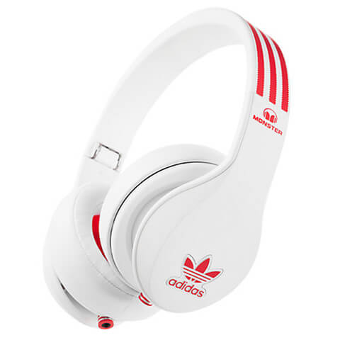 adidas Originals by Monster Headphones (3-Button Control Talk & Passive Noise Cancellation) - White/Red