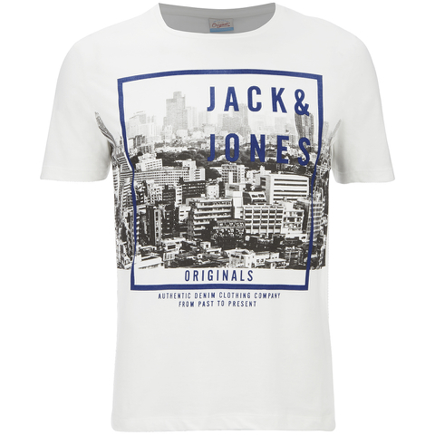 Jack & Jones Men's Originals Coffer T-Shirt - Cloud Dancer/Teal