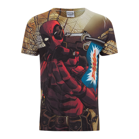 Marvel Men's Deadpool Bang T-Shirt - White