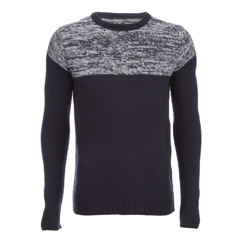 Brave Soul Men's Roland Marl Panel Jumper - Navy