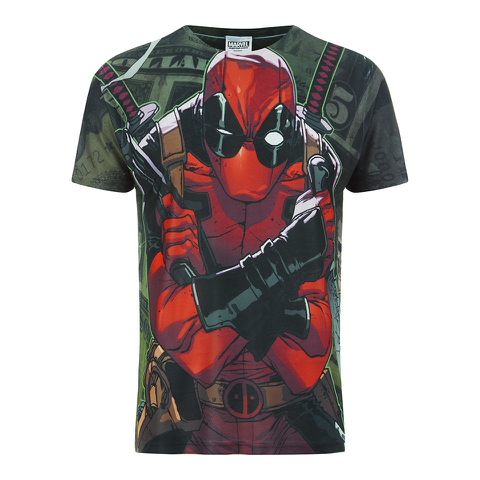 Marvel Herren Deadpool Dollar T-Shirt - Weiß