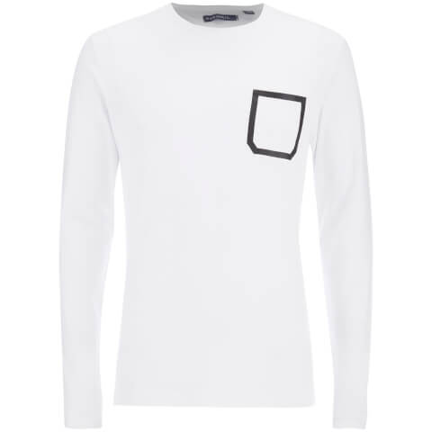 Brave Soul Men's Activist Tape Pocket Long Sleeve T-Shirt - White