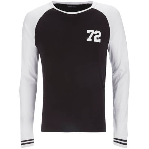 Brave Soul Men's Granite Raglan Long Sleeve Top - Black/White