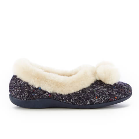 Dunlop Women's Alais Double Pom Pom Slippers - Navy