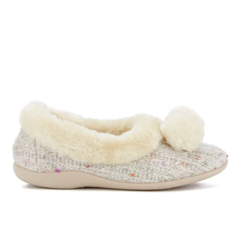 Dunlop Women's Alais Double Pom Pom Slippers - Natural