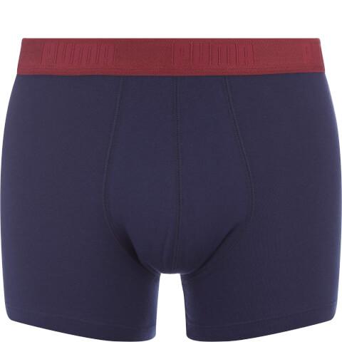 Puma Men's 2er- Pack Basic Boxers - Rot/Rot-Navy Gestreift