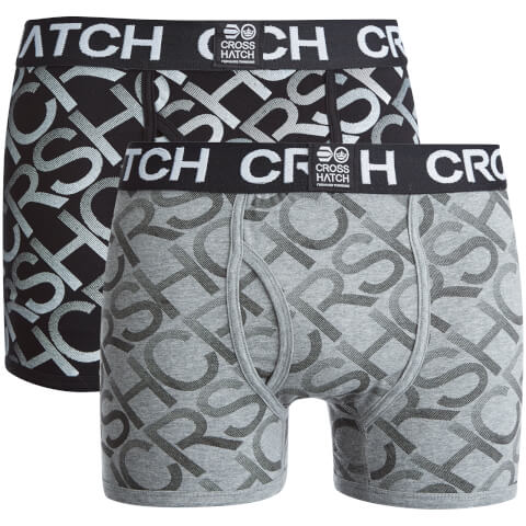 Crosshatch Men's Equalizer 2-Pack Boxers - Black/Grey Marl