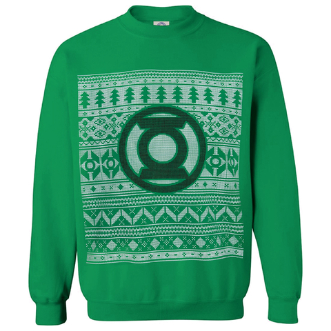 DC Comics Men's Green Lantern Christmas Fairisle Sweatshirt - Green