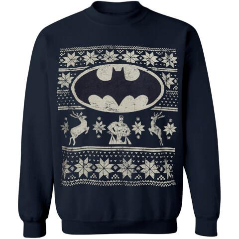 DC Comics Men's Batman Fairisle Weihnachts-Sweatshirt – Navy