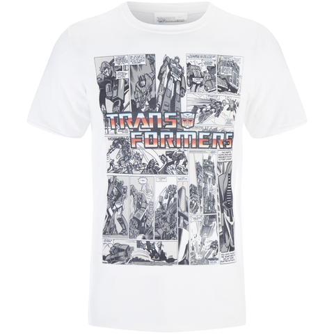Transformers Men's Comic Strip T-Shirt - White