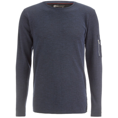 Dissident Men's Astin Zip Detail Long Sleeve Top - Blue/Black