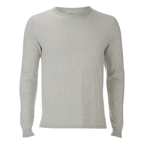 Jack & Jones Men's Originals Leo Stripe Crew Neck Jumper - Light Grey Marl
