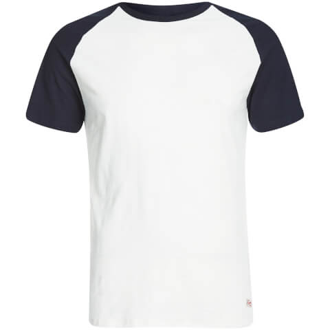 T-Shirt Homme Originals Stan Raglan Jack & Jones -Blanc/Bleu Marine