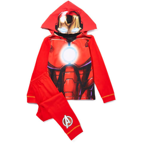 Marvel Boy's Iron Man Novelty Hood Pyjamas - Red