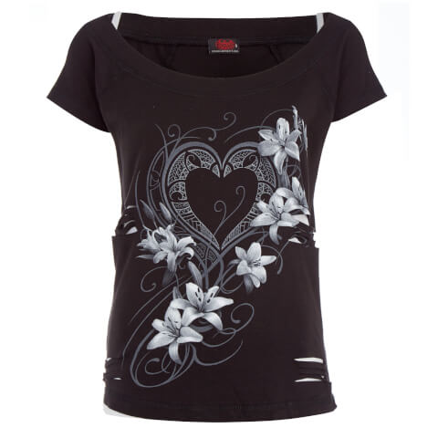 Spiral Women's Pure of Heart 2-in-1 Ripped Top - Black/White