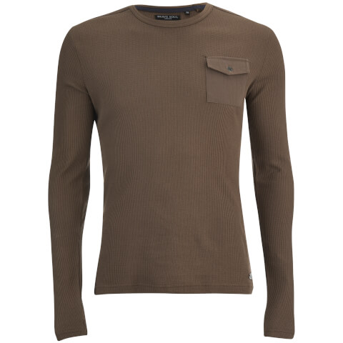 Brave Soul Men's Radar Long Sleeve Top - Taupe
