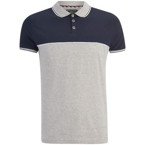 Brave Soul Men's Lorenzo Panel Polo Shirt - Light Grey/Navy