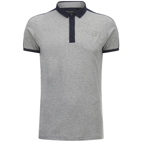 Brave Soul Men's Mozi Jersey Polo Shirt - Light Grey Marl/Navy