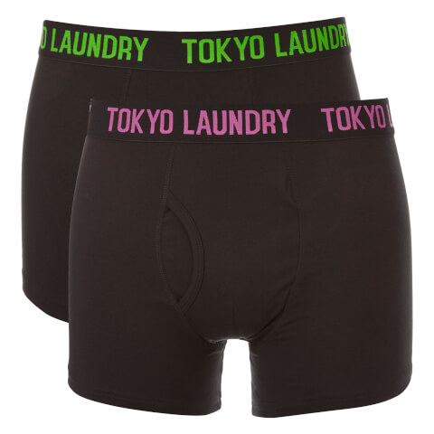 Tokyo Laundry Men's Pellipar 2 Pack Boxers - Black/Radiant Orchid/Laundered Green