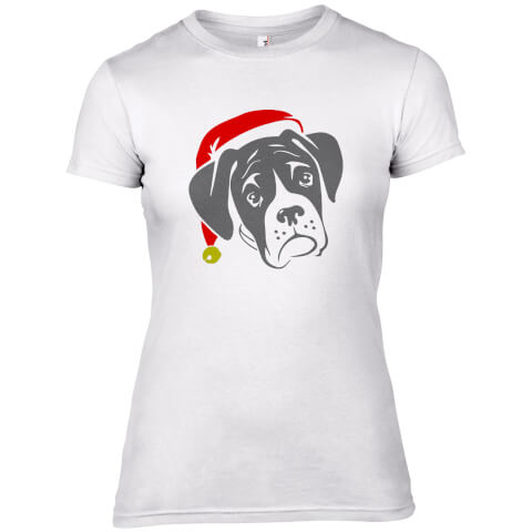Boxer Dog with Santa Hat Women's T-Shirt