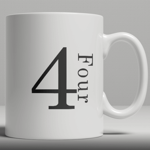 Alphabet Ceramic Mug - Number 4