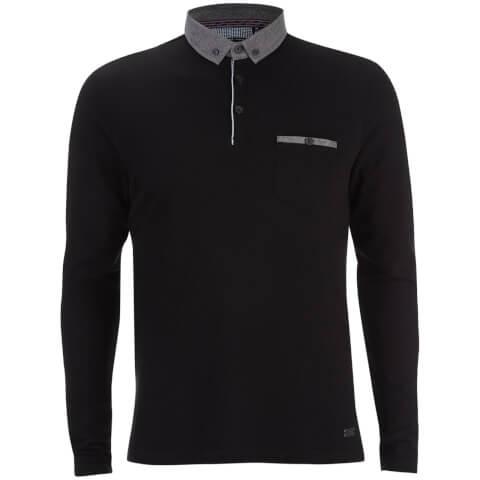 Brave Soul Men's Hera Long Sleeve Polo Shirt - Black
