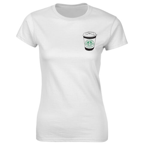 T-Shirt Femme Fitness Badge But First Coffee -Blanc