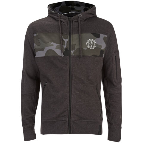 Sweat à Capuche et Zip Camden Camo Crosshatch -Charbon
