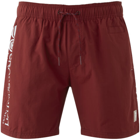 Crosshatch Men's Jennis Logo Swim Shorts - Pomegranate Red