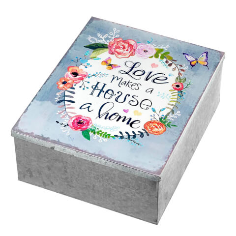 Parlane 'Love Makes' Metal Trinket Box - Silver/Multi (9 x 19cm)