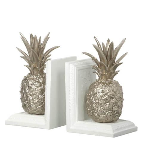 Parlane Pineapple Bookends - White (21 x 12cm)