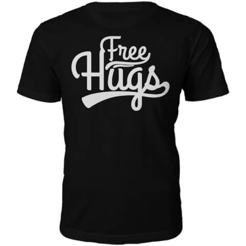 Free Hugs Slogan T-Shirt - Black