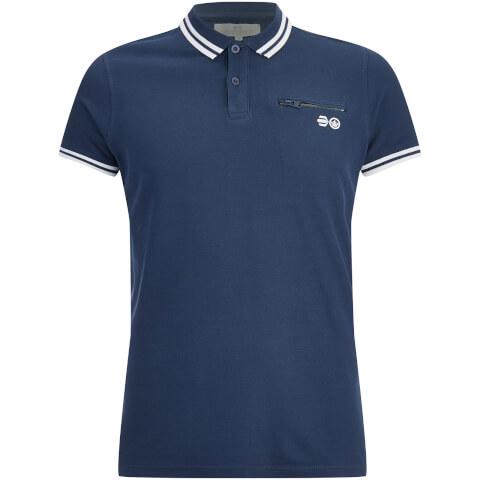 Crosshatch Men's Crazer Tipped Pique Polo Shirt - Insignia Blue